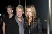 """""""Westlife """" singer Kian Egan and his wife actress Jodi Albert make their way through the crowds as they leave the Whisky Mist nightclub in the early hours of the morning."""