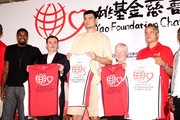 Yao Ming, Houston Rockets NBA center, attends a press conference for his 'Yao Foundation Charity Tour' with other NBA players. Ming is joined by NBA players Brandon Jennings of the Milwaukee Bucks, Hasheem Thabeet of the Memphis Grizzlies, DaJuan Summers of the Detroit Pistons and Amir Johnson of the Toronto Raptors, at Taipei on 27, July, 2010. The 30-year-old, who sat out last season due to a foot injury, said that his rehabilitation has gone well and that he is excited to be able to participate in scrimmages in the Rockets training camp to prepare for the new season. He will not play, however, in a charity game on Wednesday that will see NBA players meet a mixed team of Taiwanese and Chinese players at the Taipei Arena.