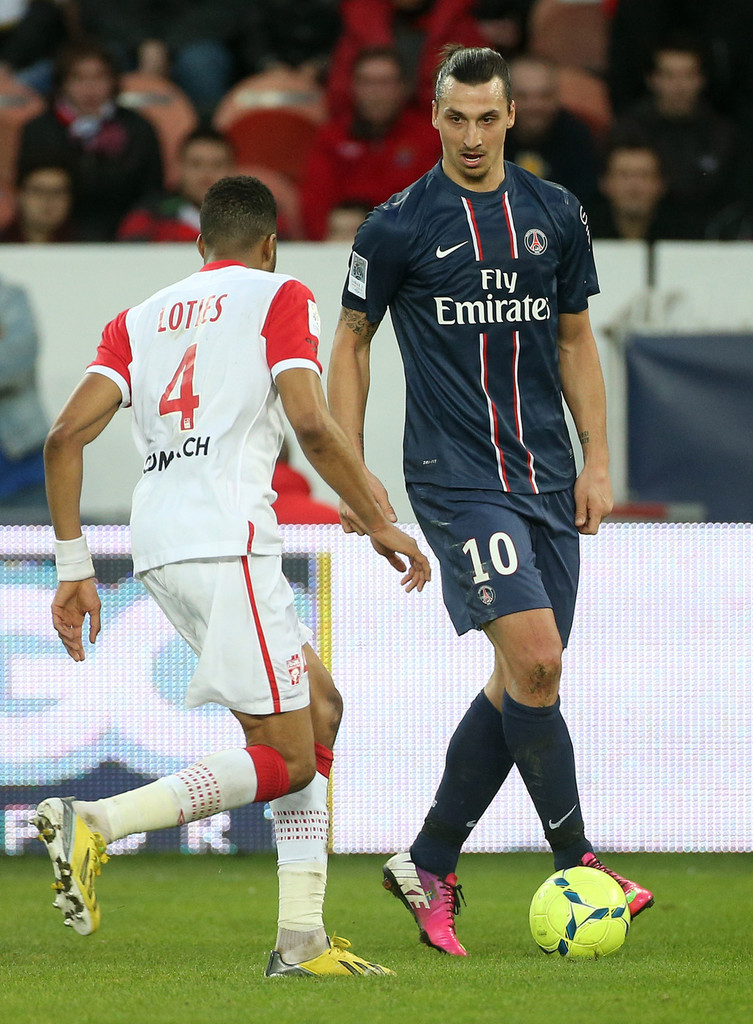 zlatan ibrahimovic of psg in action during the ligue 1 match between paris saint germain fc and. Black Bedroom Furniture Sets. Home Design Ideas