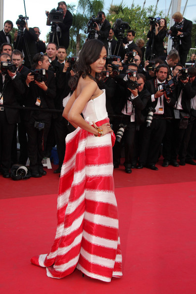 "Zoe Saldana Zoe Saldana arrives before the screening of ""The Tree of Life"", held during the 64th Annual Cannes Film Festival."