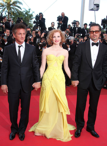 "Sean Penn, Jessica Chastain and Brad Pitt arrive before the screening of ""The Tree of Life"", held during the 64th Annual Cannes Film Festival."