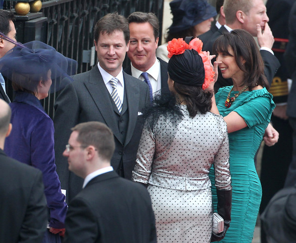 Prime Minister David Cameron, his wife Samantha and Nick Clegg after the Royal Wedding of Prince William and Kate Middleton held at Westminster Abbey. Kate & Wills announced their engagement in November last year after William proposed during a holiday in Kenya. The Royal couple will be known after the wedding as the Duke and Duchess of Cambridge.
