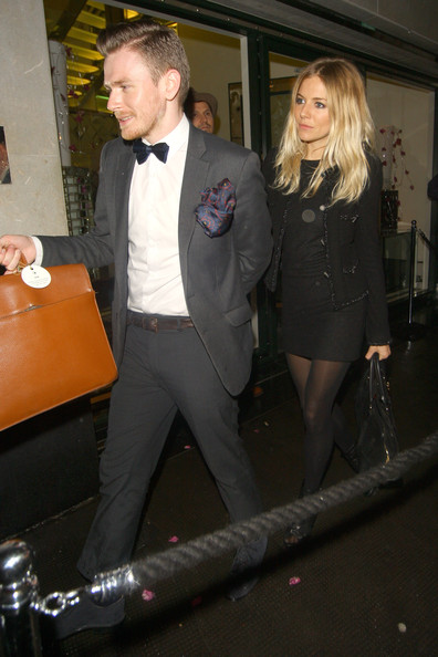 Sienna Miller leaves the Matthew Williamson London Fashion Week afterparty held at The Ivy Club in London. The star of