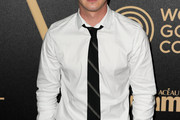 Logan Lerman Striped Tie