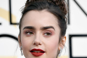 Lily Collins Braided Updo