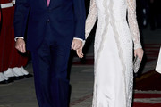 Queen Letizia of Spain Embroidered Dress