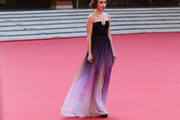 Lily Collins Strapless Dress