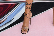 La La Anthony Lace-Up Heels